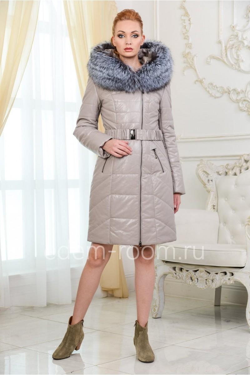 Пальто из экокожи для зимы
