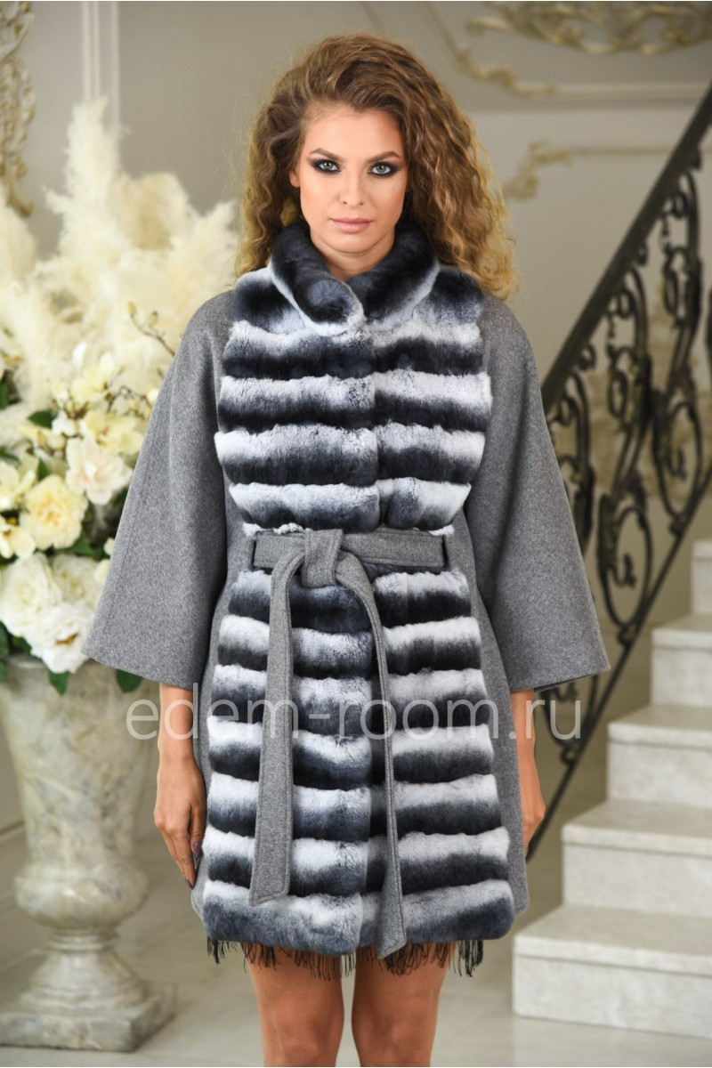 Модное шерстяное пальто с шиншилловым кроликом осенне - весеннее