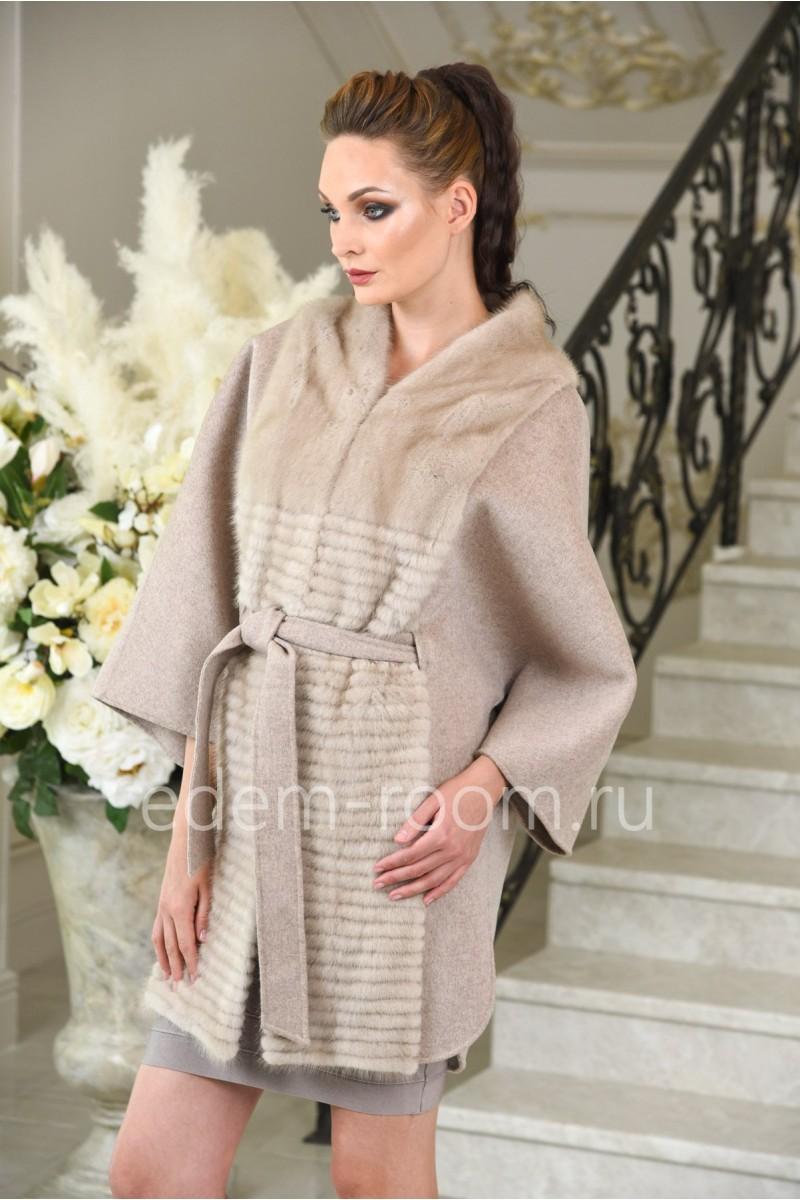 Осенне - весеннее шерстяное пальто - пончо под пояс