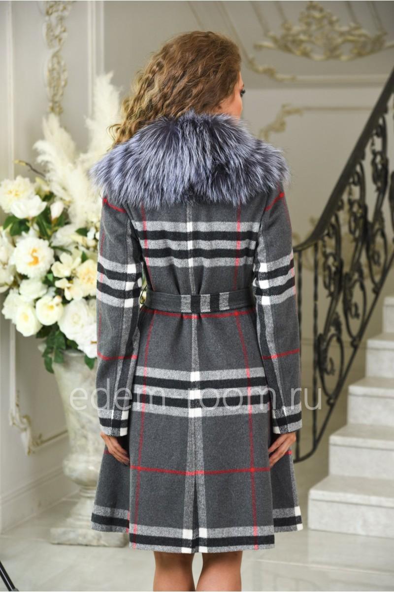 Шерстяное модное пальто с мехом чернобурки весенне-осеннее