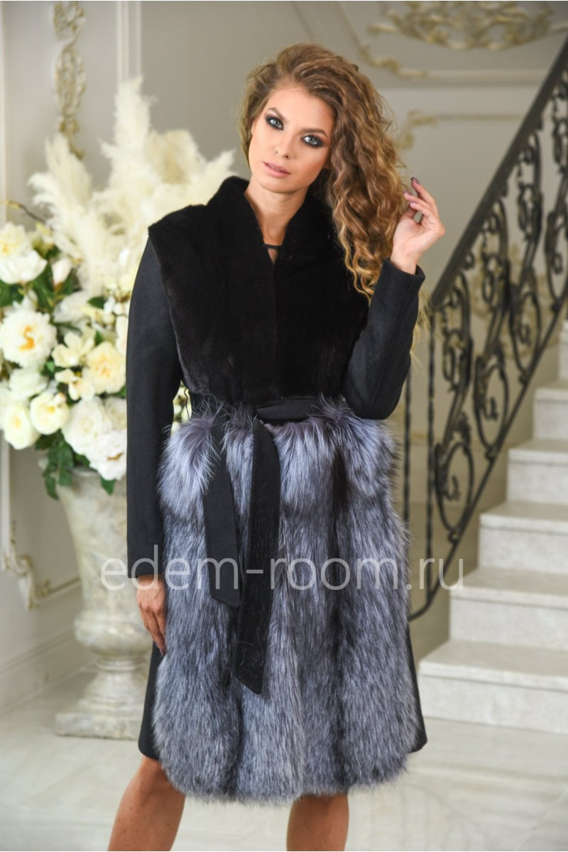 Чёрное пальто с мехом норки и чернобурки. Осень - весна