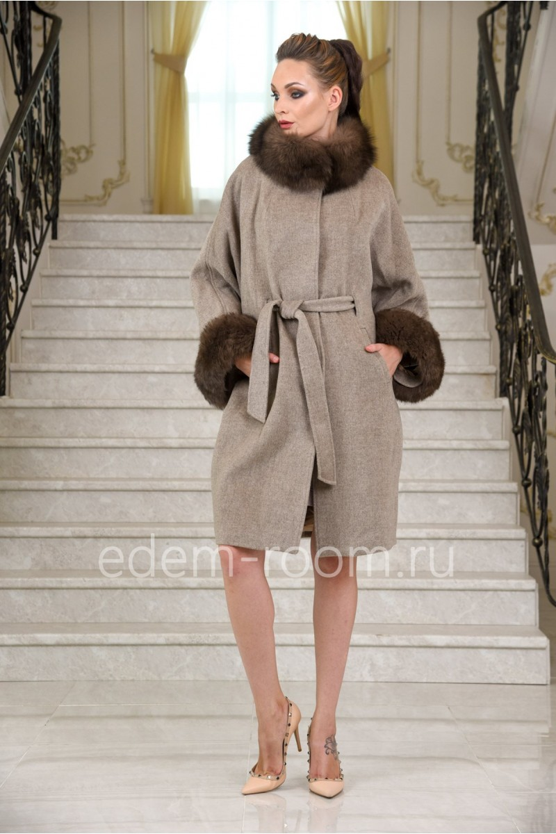 Женское весенне-осеннее пальто из альпаки под поясом