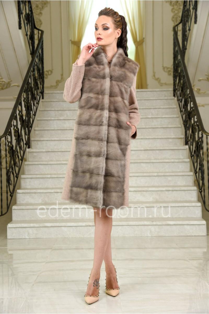 Весенне - осеннее шерстяное пальто - жилет с мехом норки 3в1