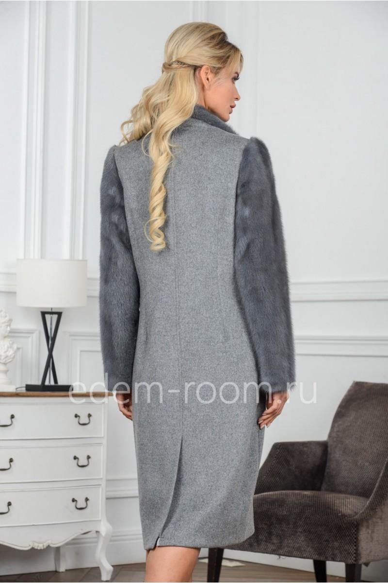 Пальто из шерсти и меха норки