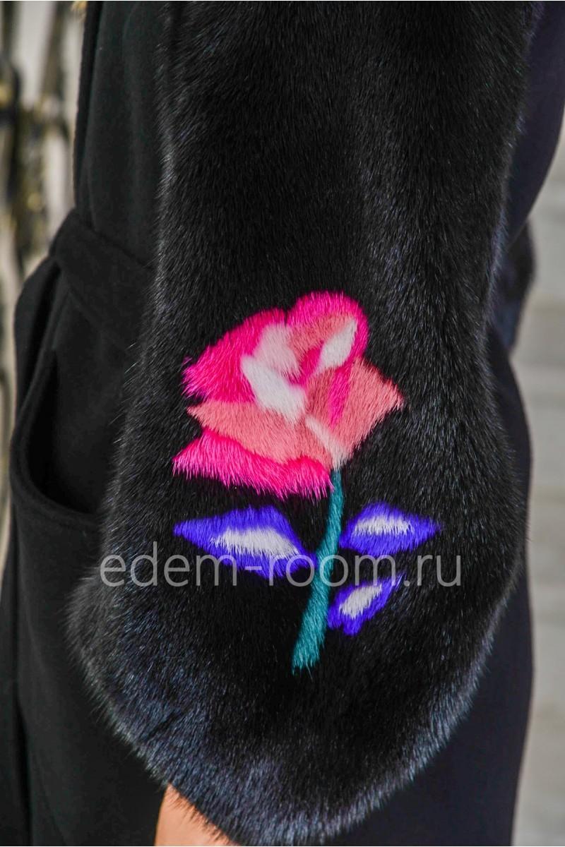 Чёрное пальто из альпаки и норки