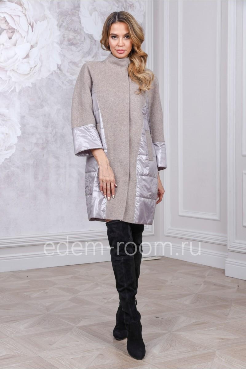 Женское комбинированное пальто