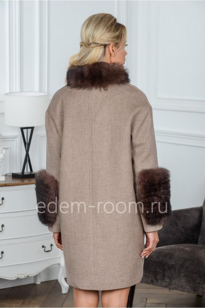 Шерстяное пальто на молнии