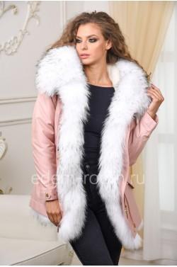 Молодёжная парка-куртка с мехом енота