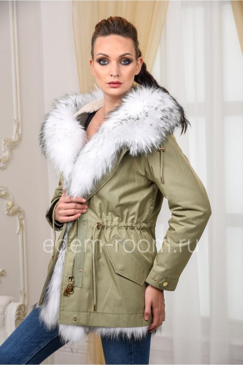 Укороченная парка - куртка с мехом енота