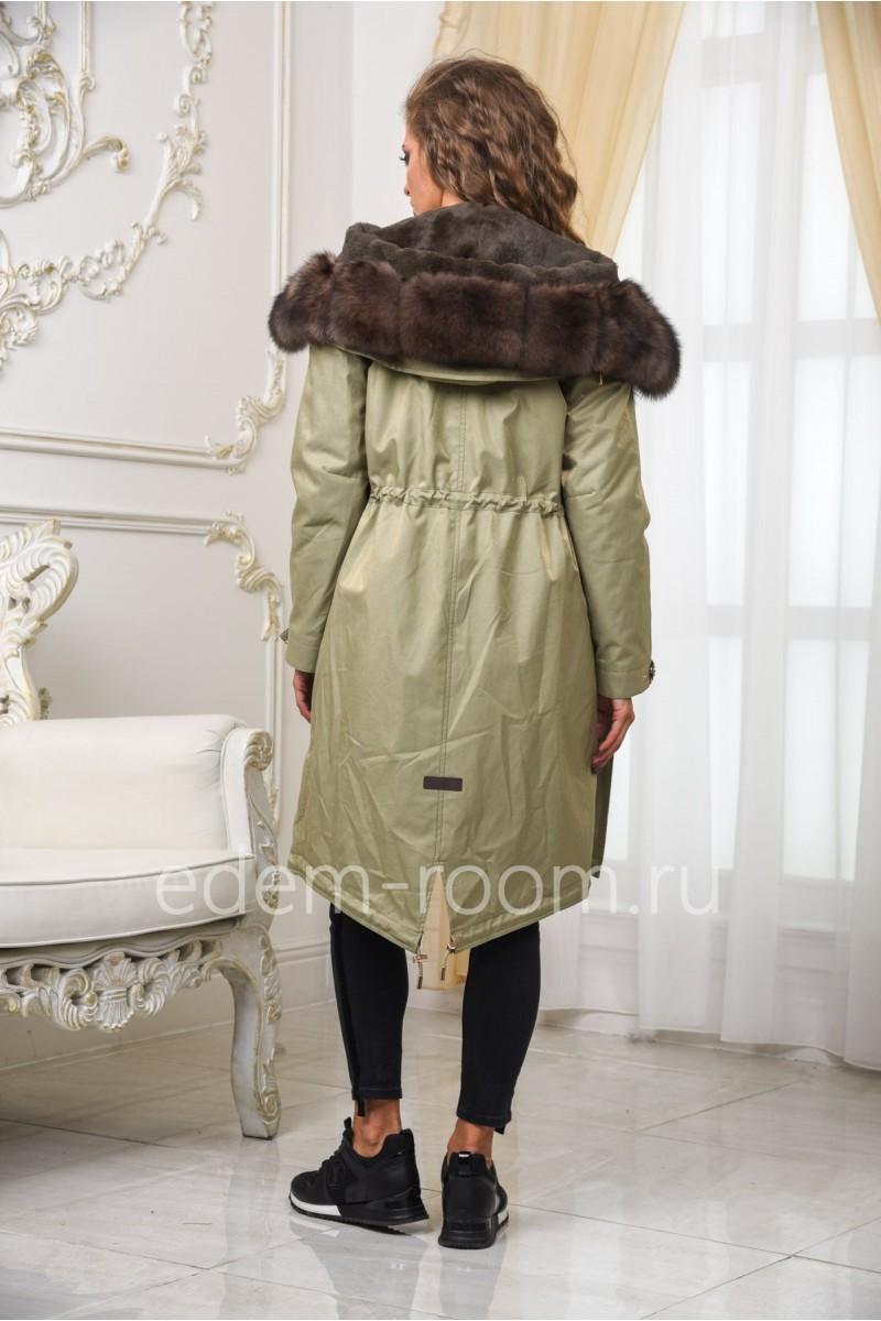 Парка - пальто с мехом песца