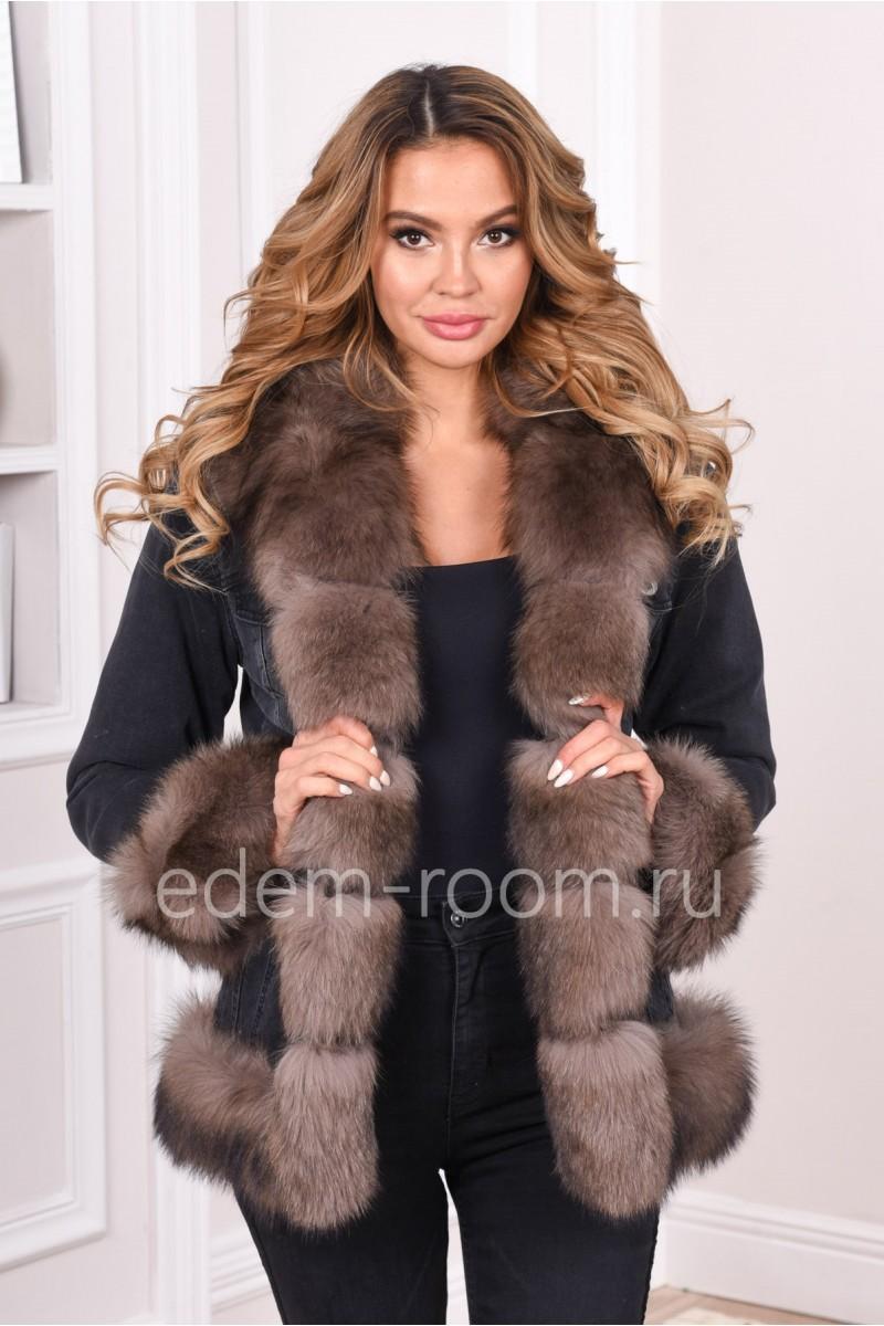 Джинсовая женская куртка с мехом песца
