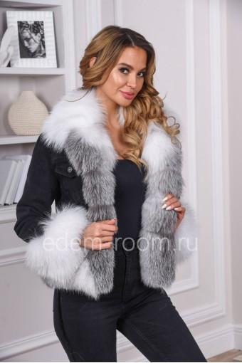 Джинсовая куртка с мехом арктической лисы