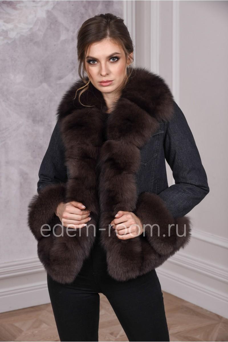 Джинсовая женская куртка весна - осень с мехом песца