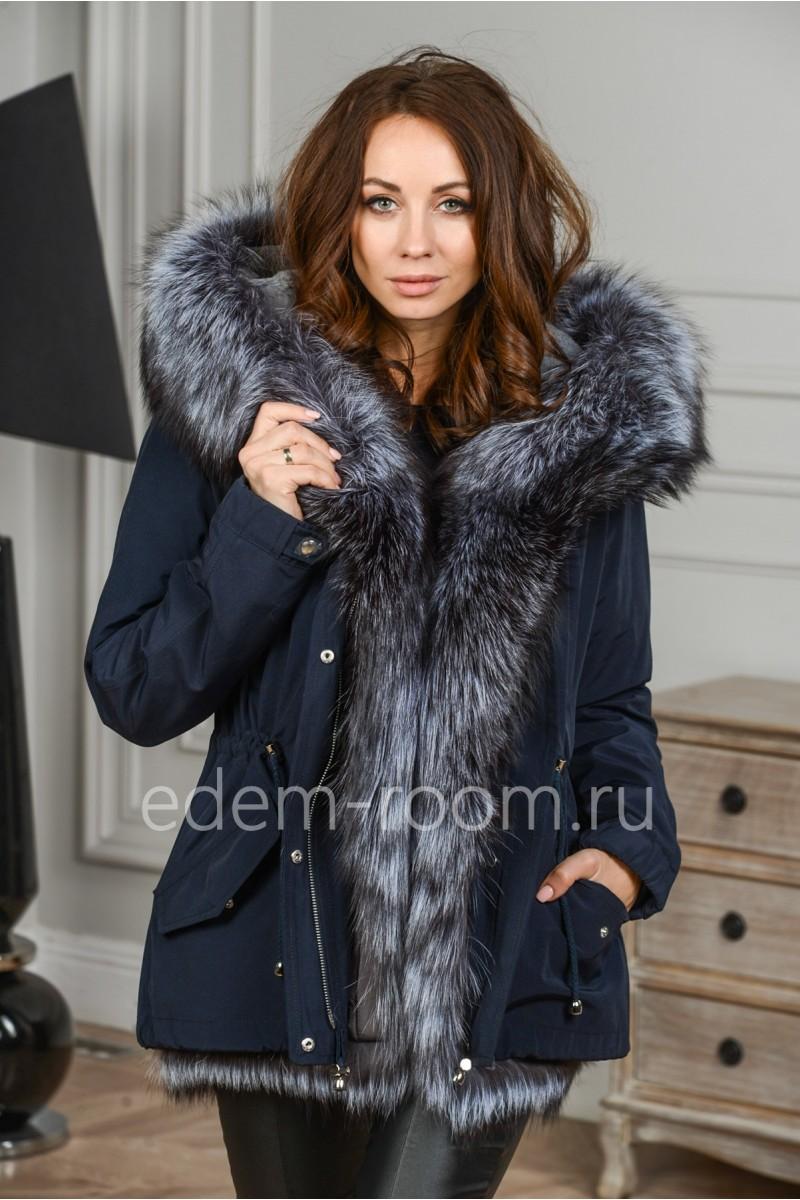 Куртка- парка с мехом чернобурки