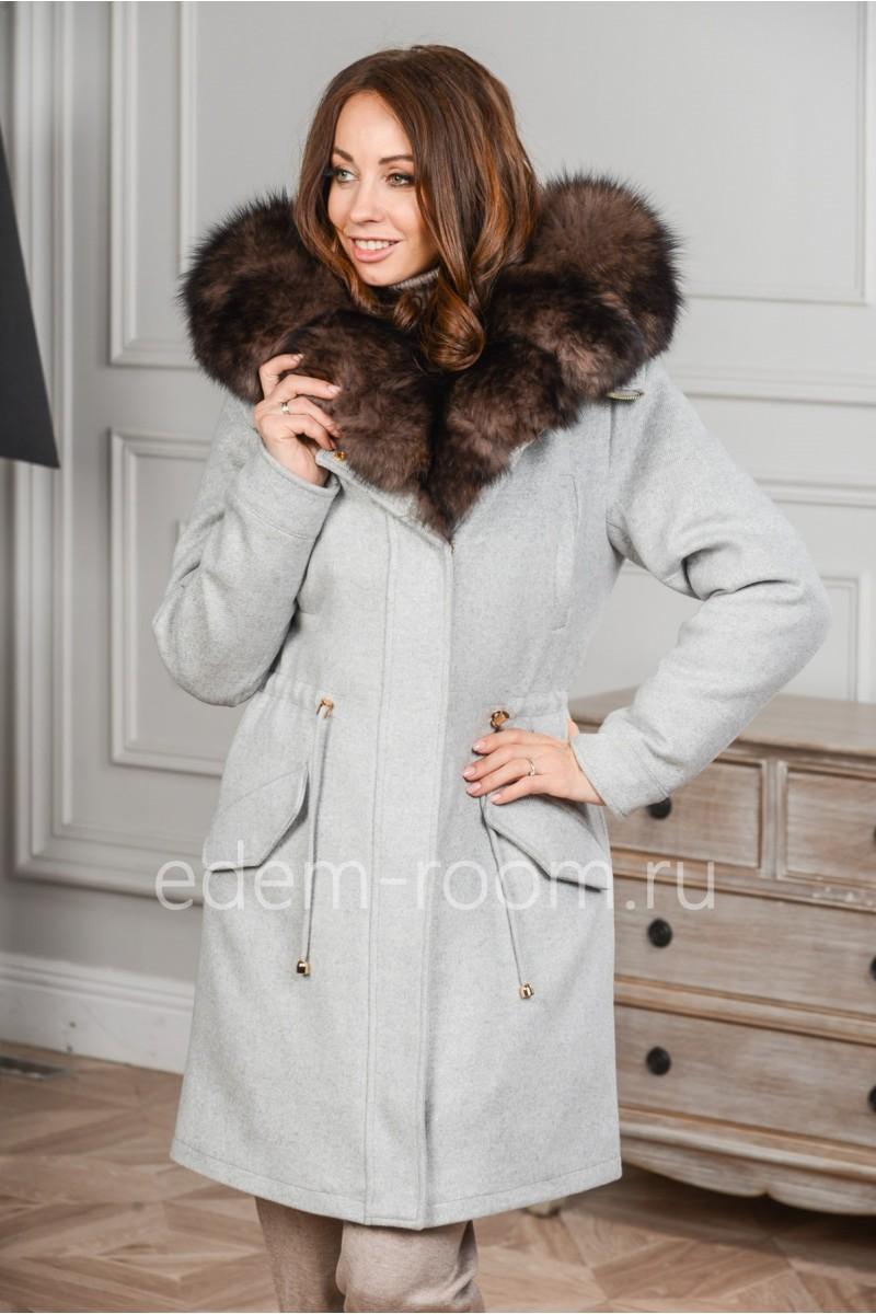 Парка - пальто из кашемира и меха