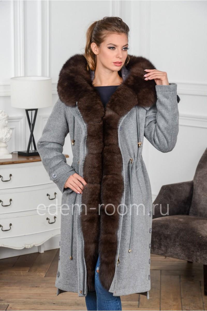 Кашемировая парка - пальто с мехом