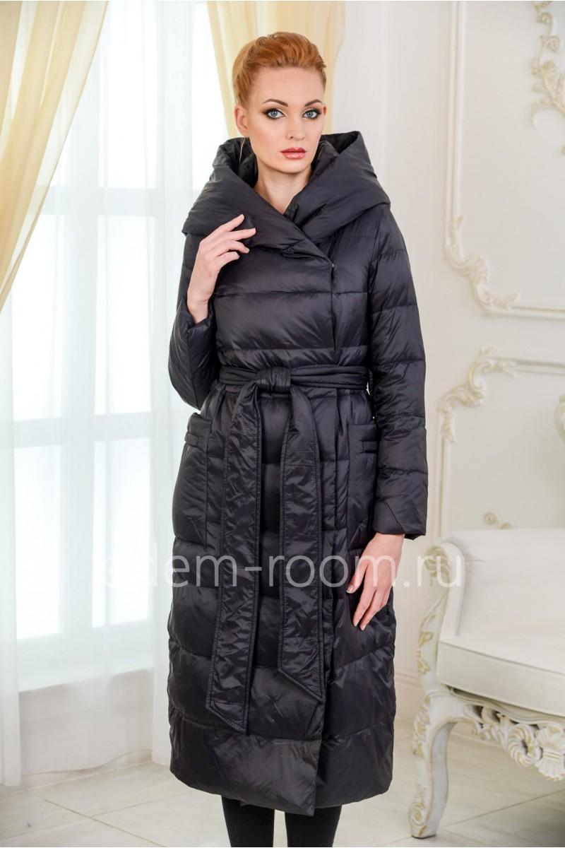 Пальто - пуховик с капюшоном