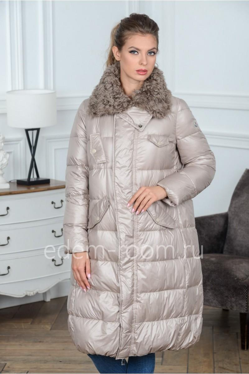 Бежевый пуховик - пальто