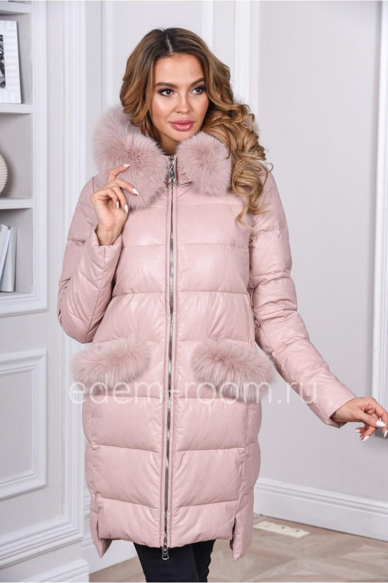 Зимний куртка -пуховик из эко-кожи