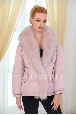 Розовая короткая куртка на био-пухе