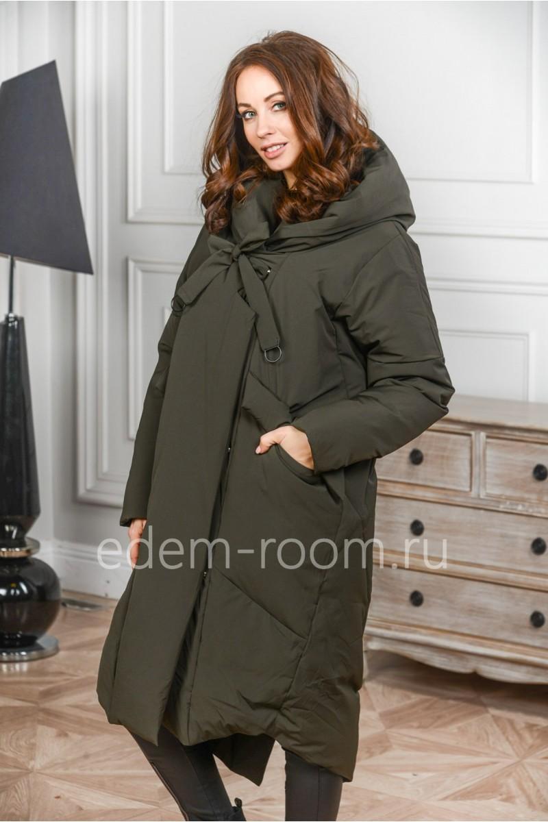 Удлинённое пуховое пальто