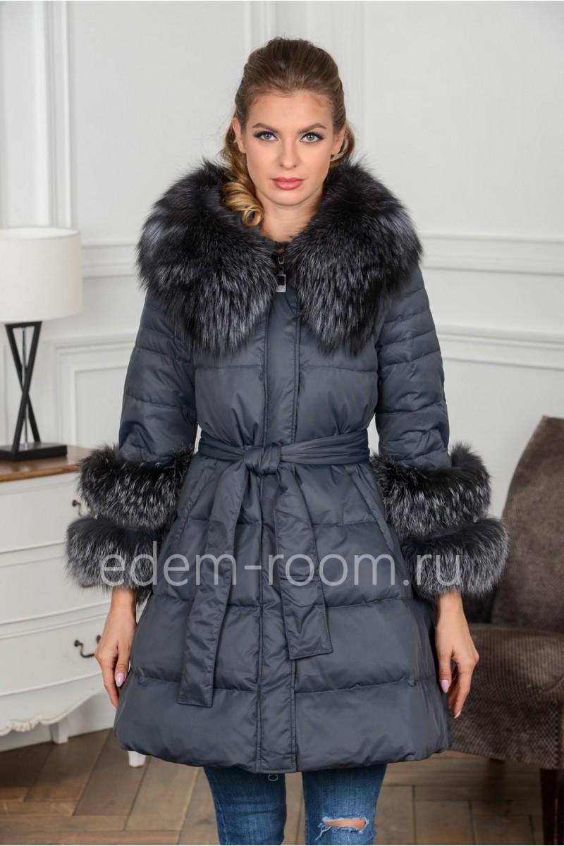 Пуховик -куртка с мехом