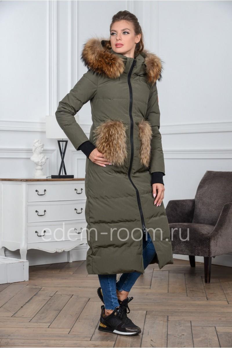 Удлинённый пуховик - пальто с мехом