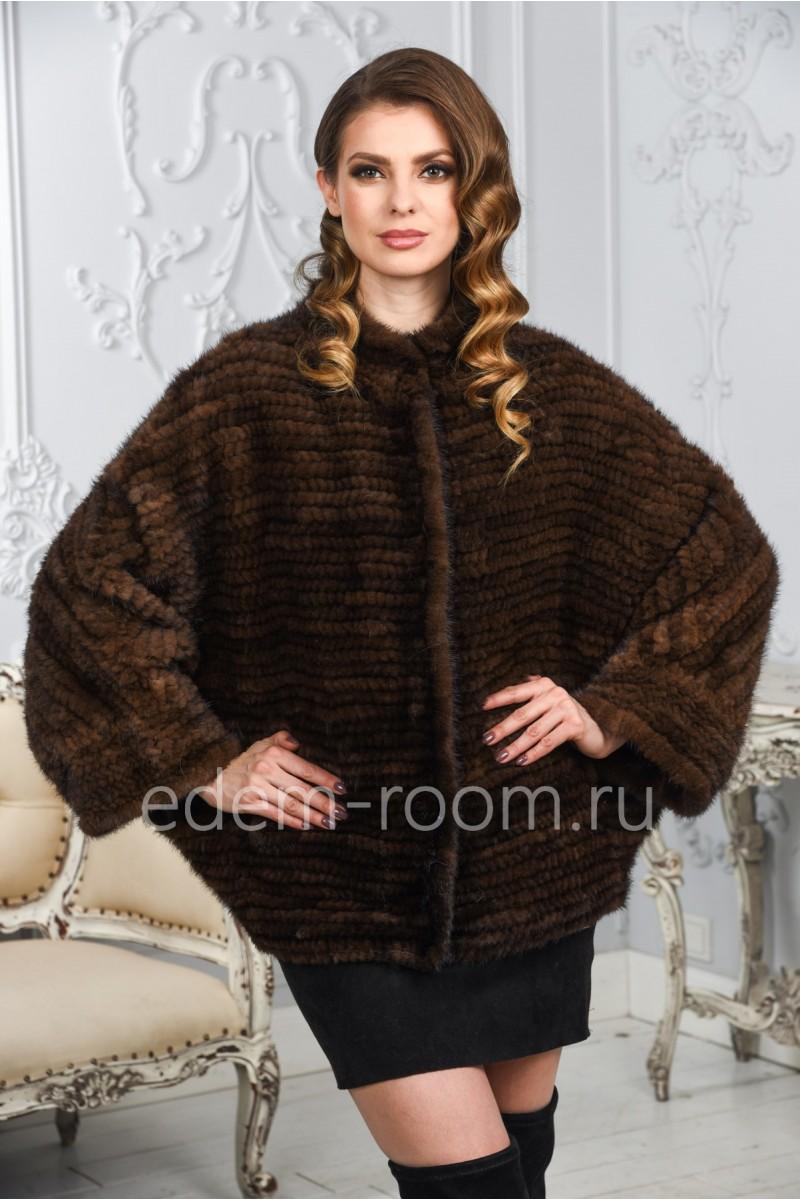 Вязаная куртка из меха норки