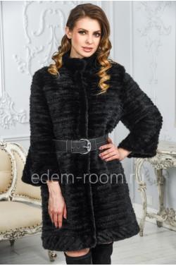 Теплое пальто из вязанаой норки