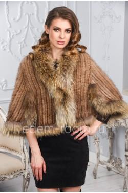 Укороченная куртка из вязаной норки