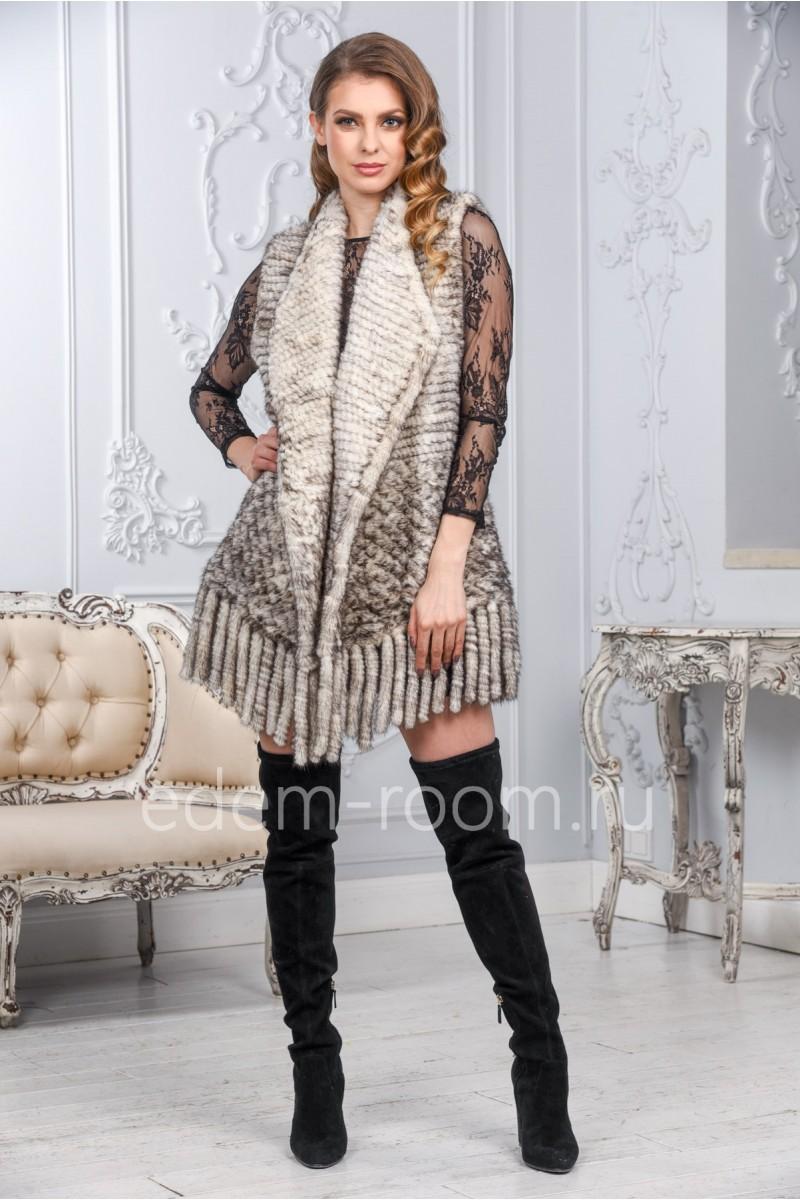 Уютный жилет из вязаной норки
