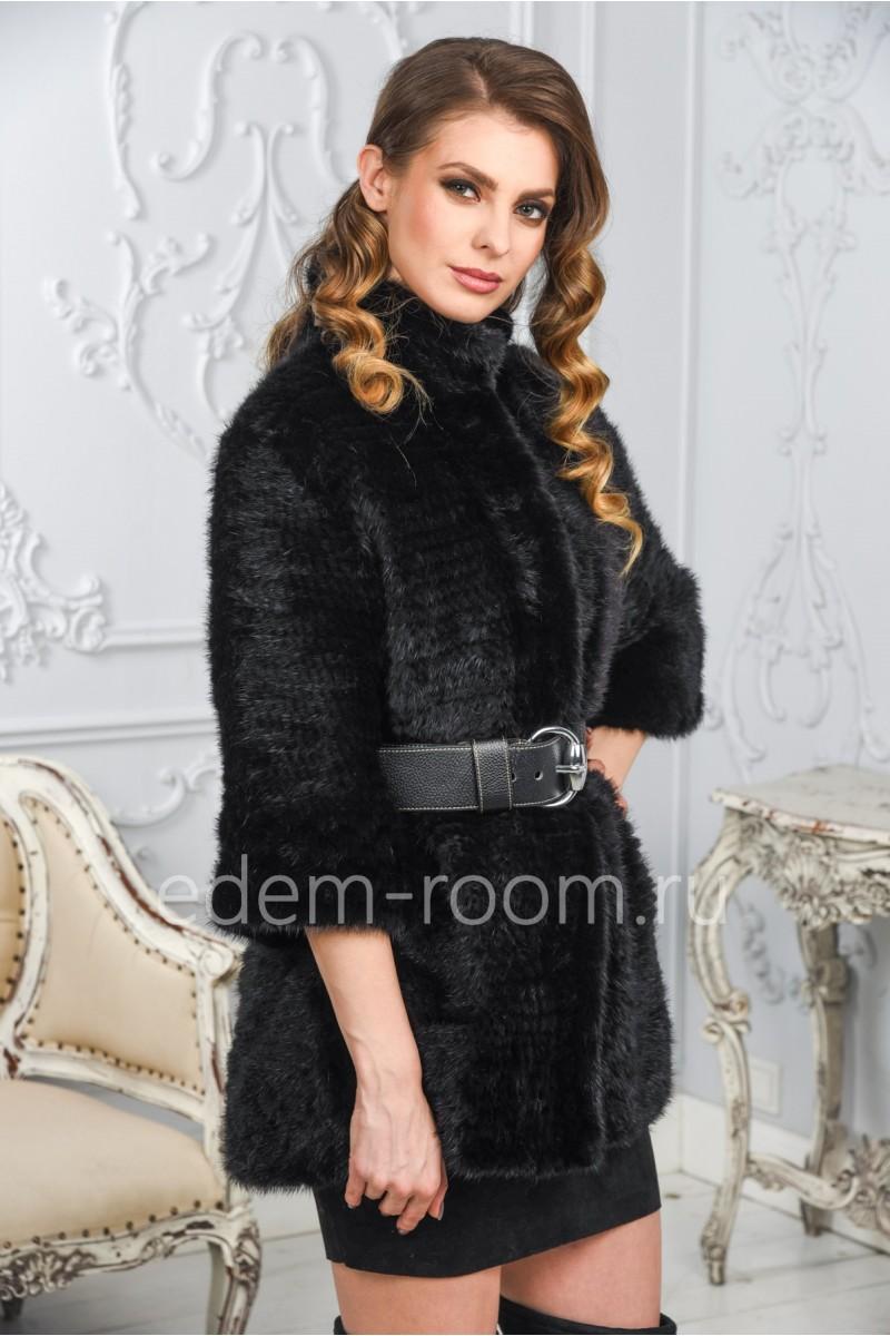Теплое пальто из вязаной норки