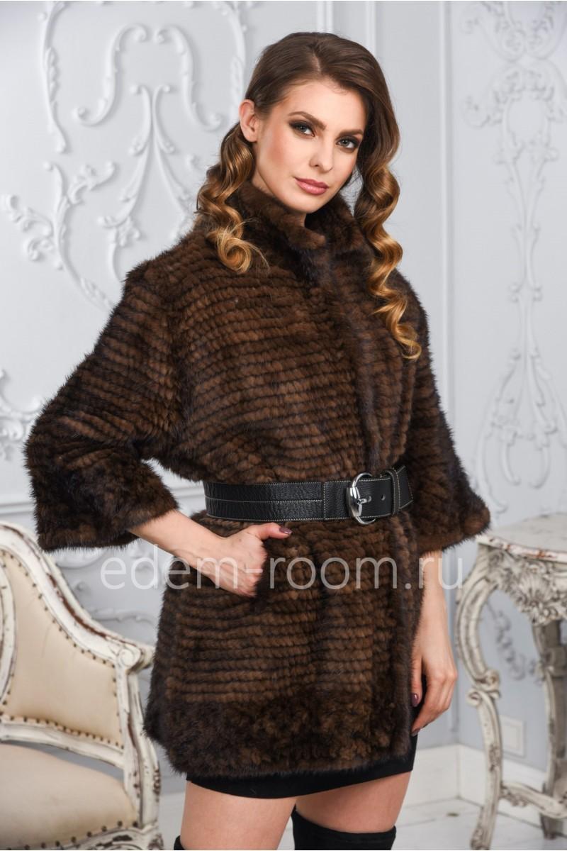 Вязаное пальто из норки