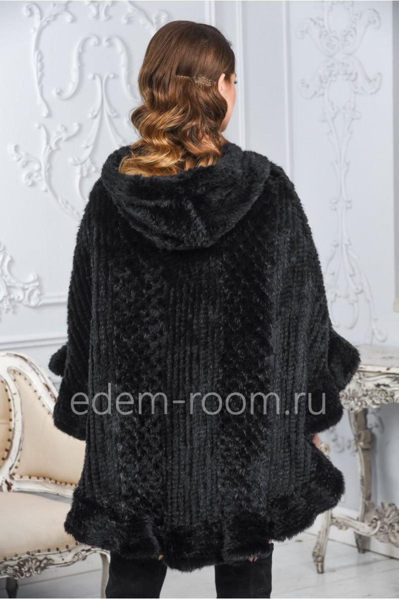 Чёрное пончо из вязаной норки