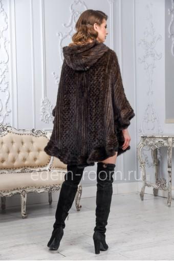 Норковое вязаное пончо