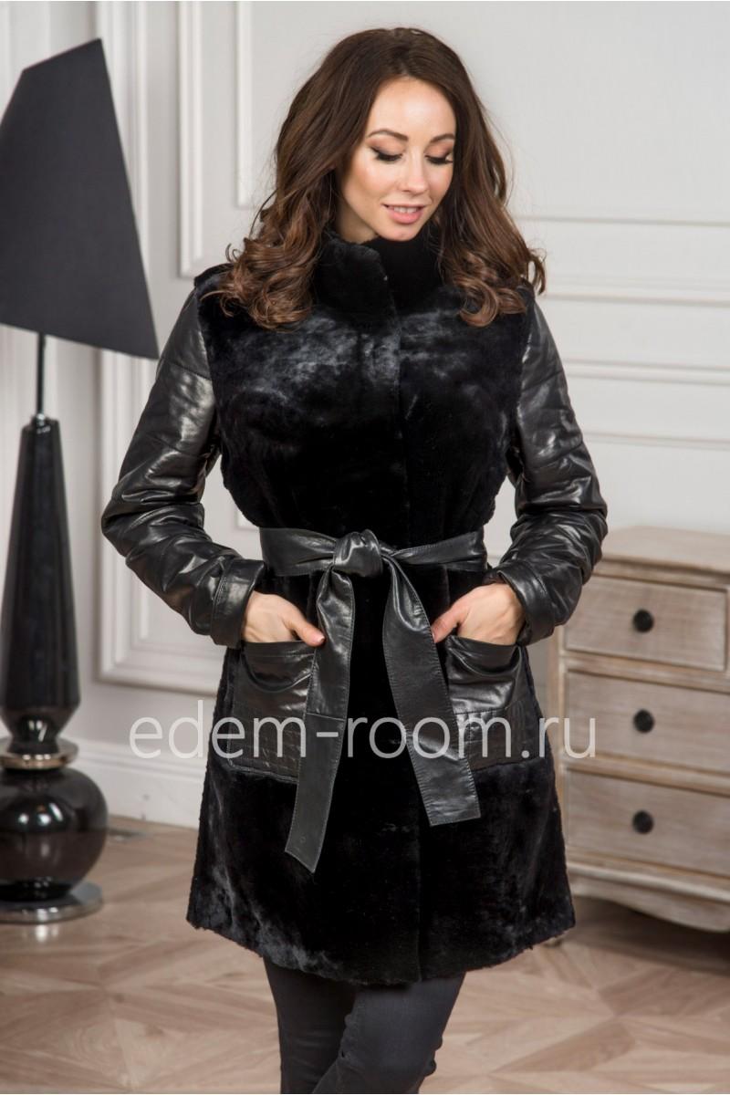 Зимняя куртка из кожи и мутона