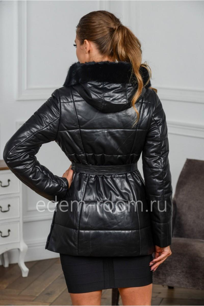 Уютная зимняя куртка из кожи