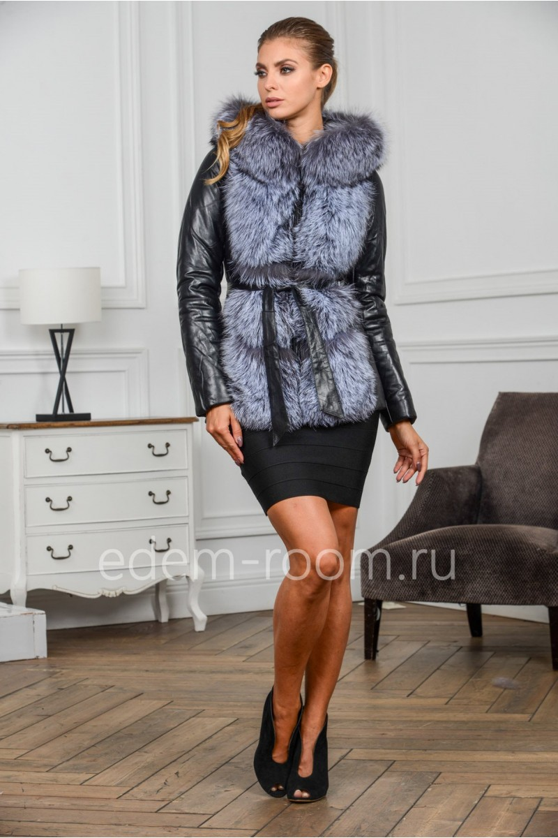 Зимняя кожаная куртка - жилетка с капюшоном