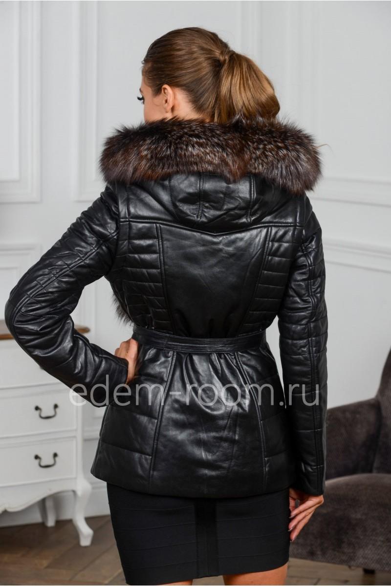 Кожаная куртка - жилетка из меха чернобурки с капюшоном