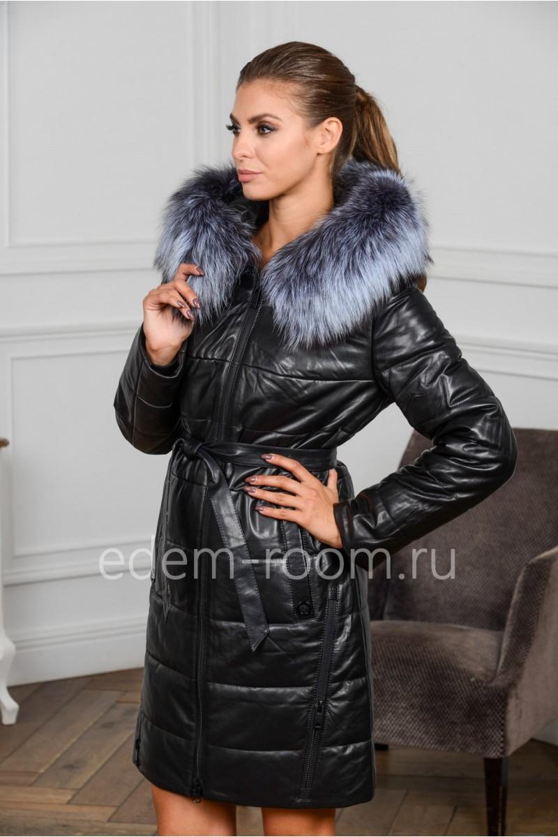 Кожаное пальто с мехом для зимы
