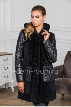 Зимнее пальто из кожи и цигейки
