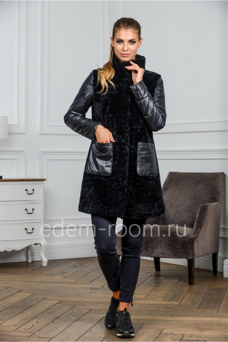 Молодёжное пальто из кожи и цигейки