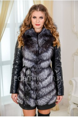 Зимняя куртка-жилетка из меха чернобурки