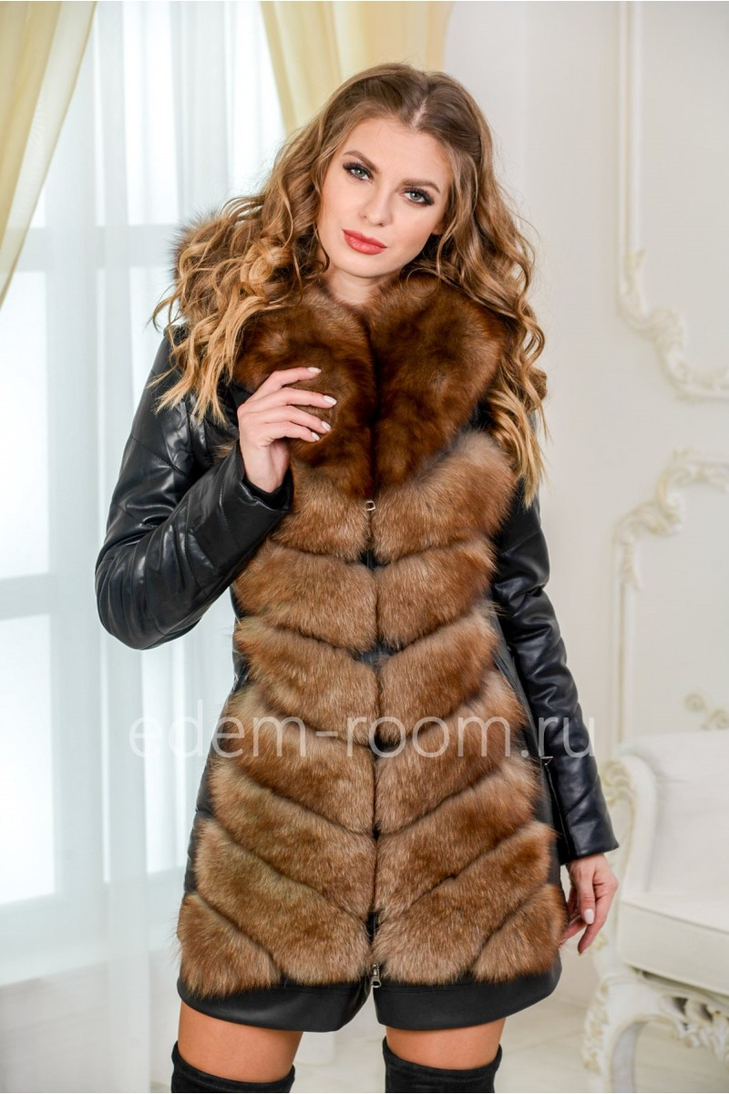 Куртка-жилет из экокожи и  меха песца