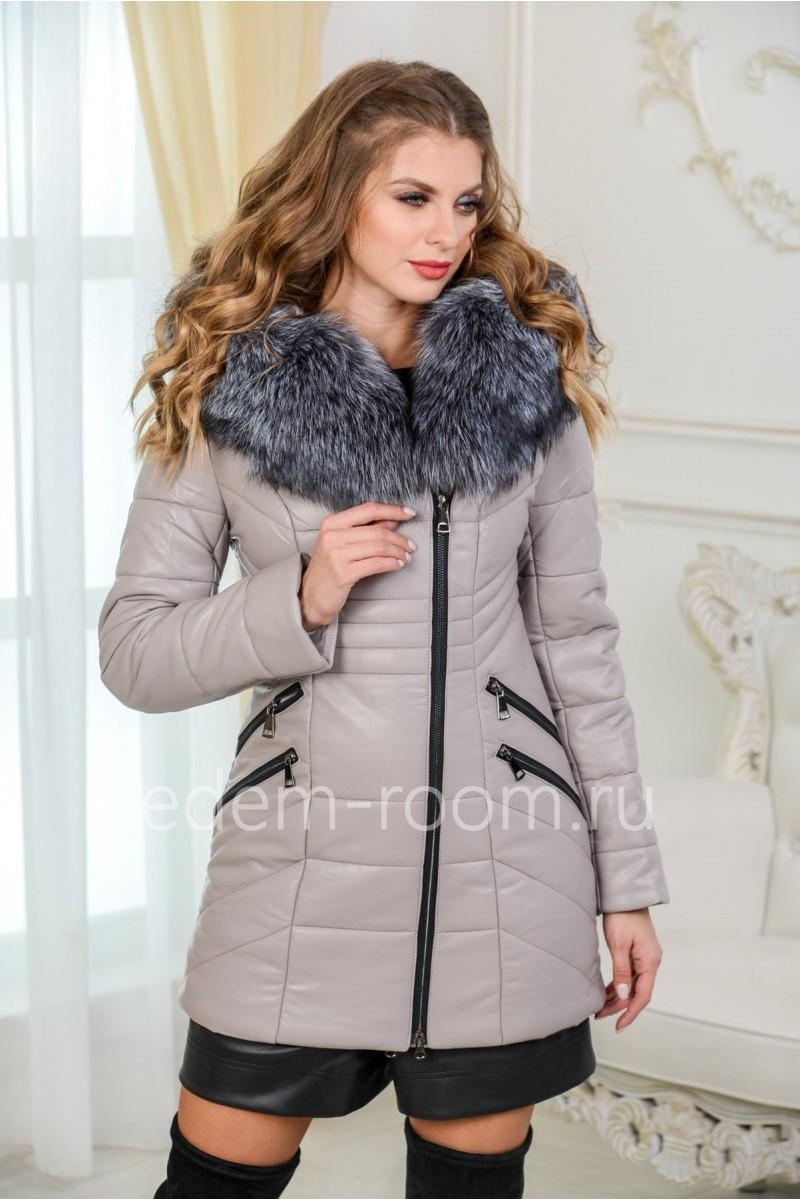 Куртка для зимы из экокожи