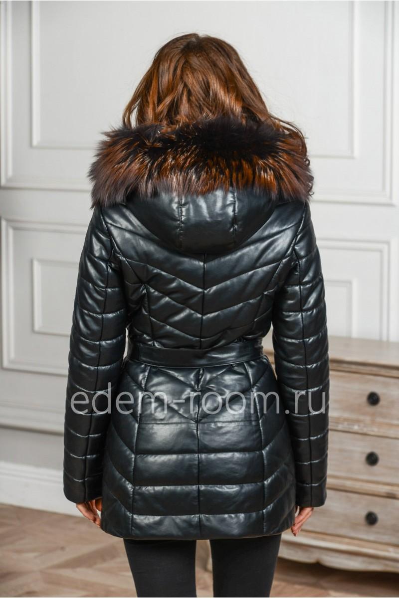 Женская куртка из эко-кожи с натуральным мехом