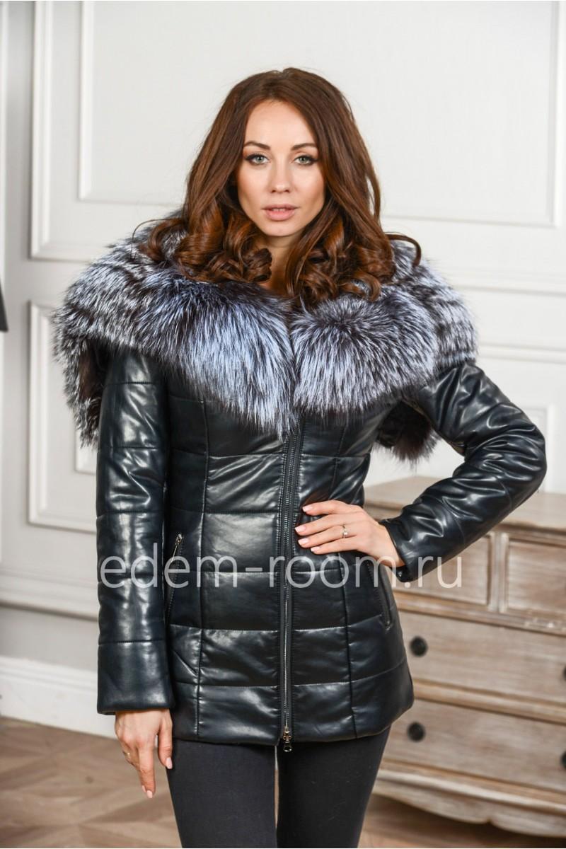 Куртка из эко-кожи с мехом чернобурки