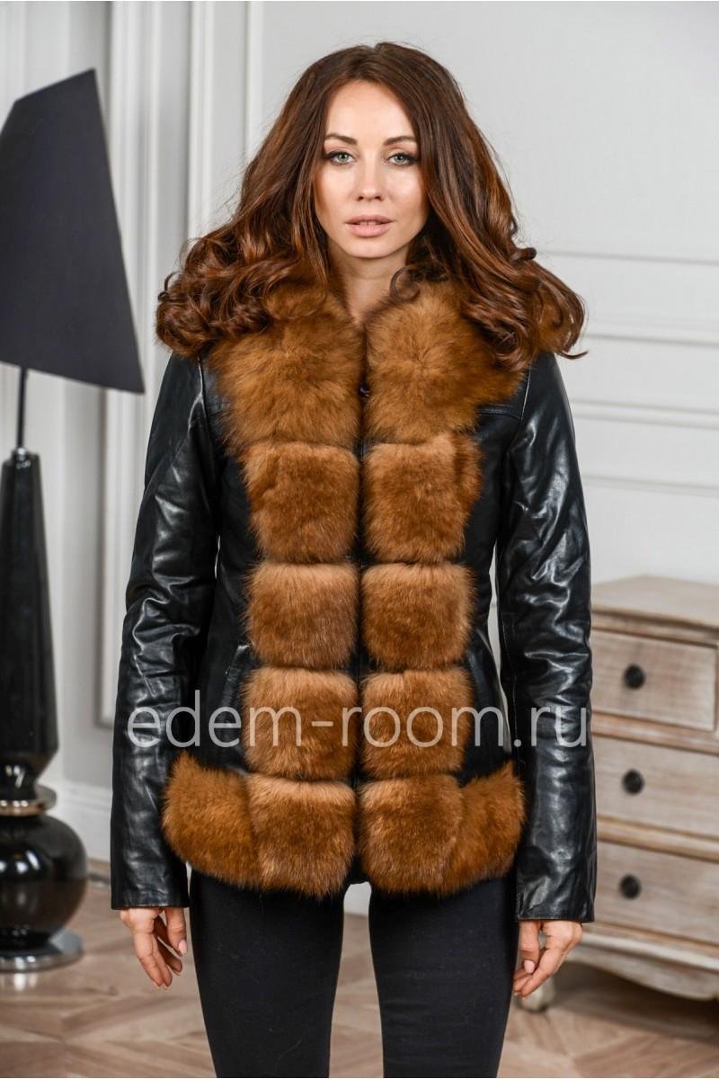 Короткая куртка из экокожи с мехом