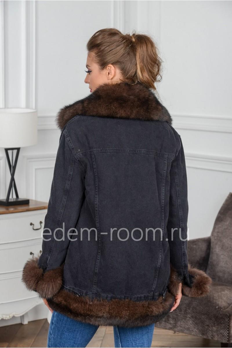 Утеплённая женская джинсовая куртка на весну и осень
