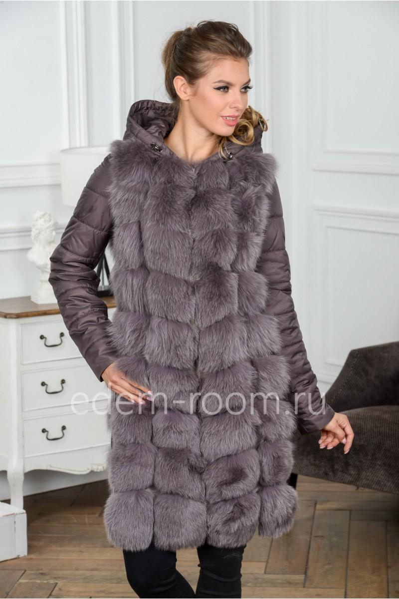 Женская куртка - жилетка из песца